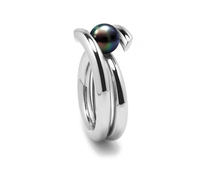 Contemporary Black Pearl High Tension Ring in Stainless Steel