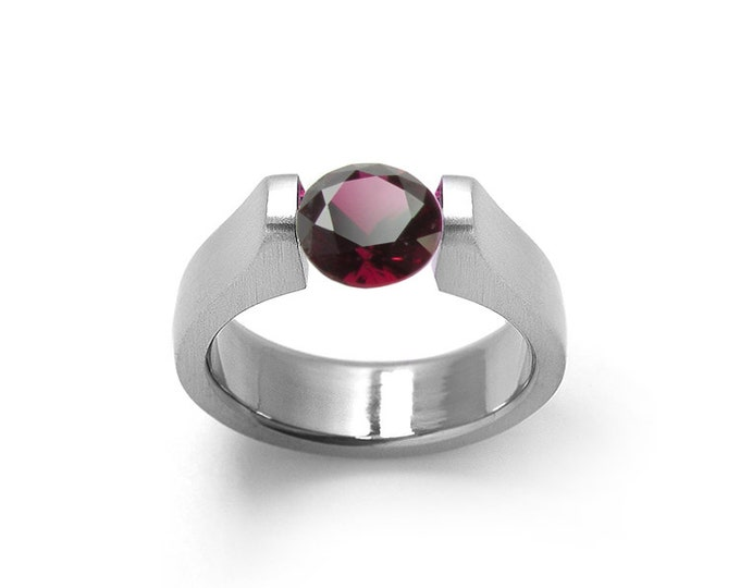 Garnet Tension Set Ring Stainless Steel