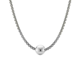 2.5mm Box Link Chain Stainless Steel Necklace with center Sphere  by Taormina Jewelry