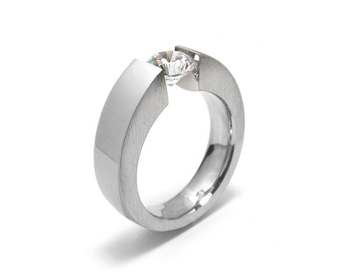 1.5ct White Sapphire Engagement Ring Tapered Tension Set Steel Modern Style by Taormina Jewelry