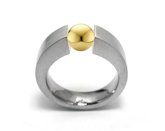 Mens Gold & Stainless Steel Two Tone  Ring Tension Set by Taormina Jewelry