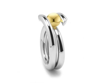 Stainless Steel & Gold High Setting Bypass Tension Set Ring by Taormina Jewelry