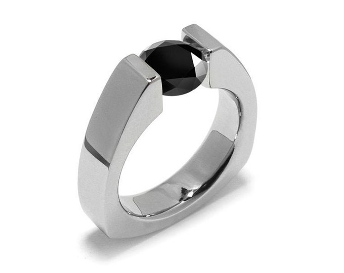 1.5ct Black Diamond Triangular Tension Set Ring in Stainless Steel Modern Style by Taormina Jewelry