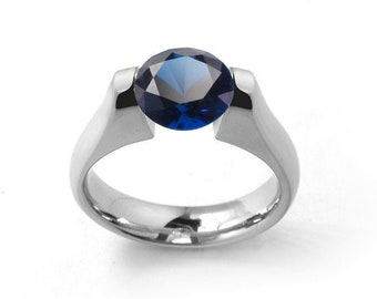 1.5ct Blue Sapphire Ring Tension Set Mounting in Stainless Steel