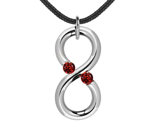 Garnet Infinity Vertical Pendant Tension Set Steel Stainless