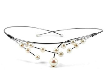 White Cultured Pearls Wire Bridal Necklace Design by Taormina Jewelry