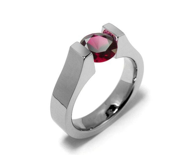 2ct Garnet High setting Tension Set Engagement Ring by Taormina Jewelry