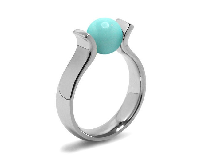 High setting Turquoise Lyre shaped Tension Set Ring in Stainless Steel by Taormina Jewelry