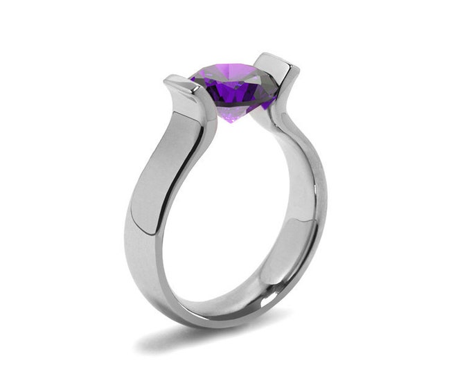 1ct Amethyst Lyre shaped Tension Set Ring in Stainless Steel