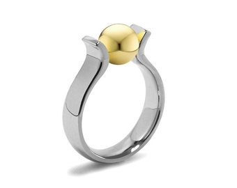 Stainless Steel and Gold Two Tone Ring Tension Set by Taormina Jewelry