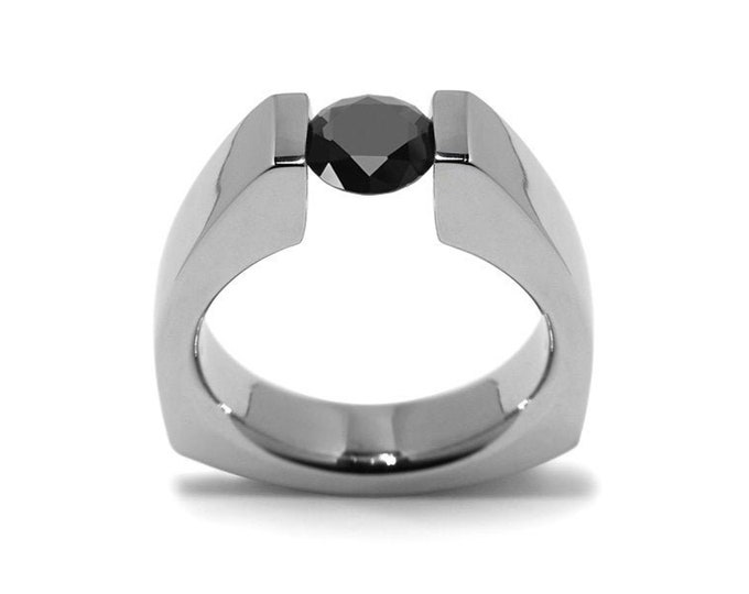 1ct Black Onyx Triangular Tension Set Ring in Stainless Steel Modern Style