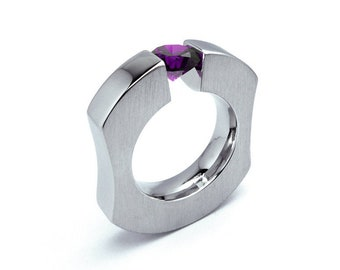 1ct Amethyst Ergonomic Tension Set Ring in Stainless Steel Mounting by Taormina Jewelry