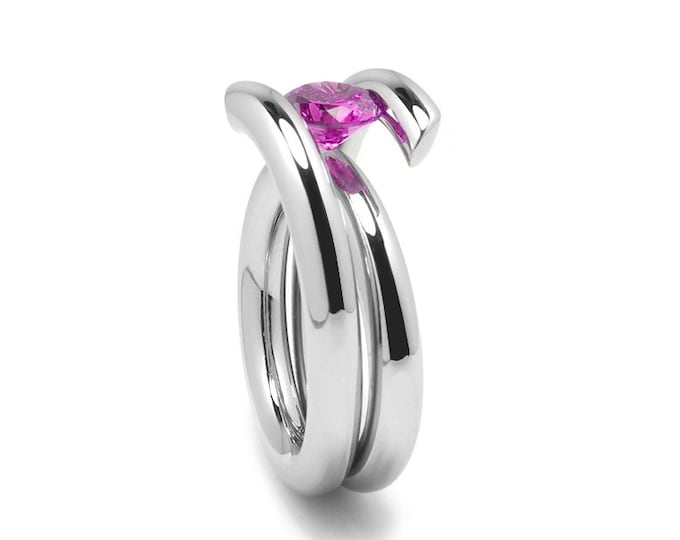 Contemporary 1ct, 1.5ct, 2ct Pink Sapphire Ring High Tension Setting in Stainless Steel