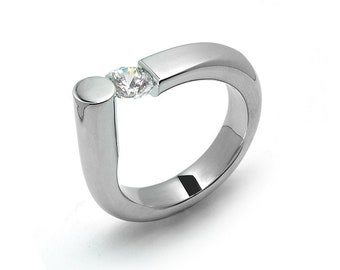 0.75 White Sapphire Ring Tension Set in Stainless Steel by Taormina Jewelry