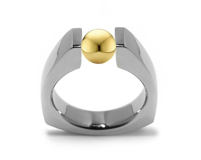 Triangular Tension Set Ring in Stainless Steel with Gold Sphere by Taormina Jewelry