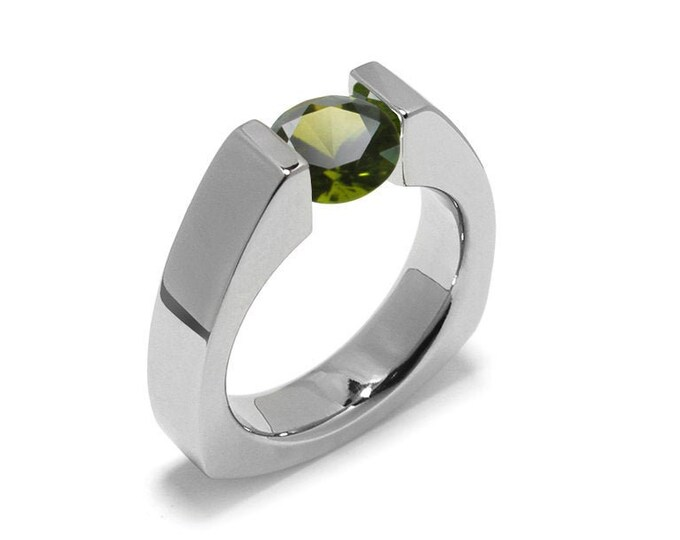 1.5ct Peridot Triangular Shaped Tension Set Ring by Taormina Jewelry