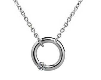 White Sapphire Tension Set Necklace in Stainless Steel by Taormina Jewelry