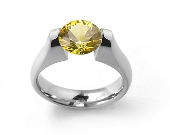 1.5ct Yellow Sapphire Engagement Ring Tension Set in Stainless Steel