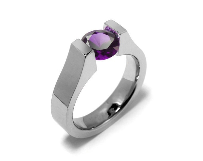1ct Amethyst High setting Tension Set Engagement Ring by Taormina Jewelry