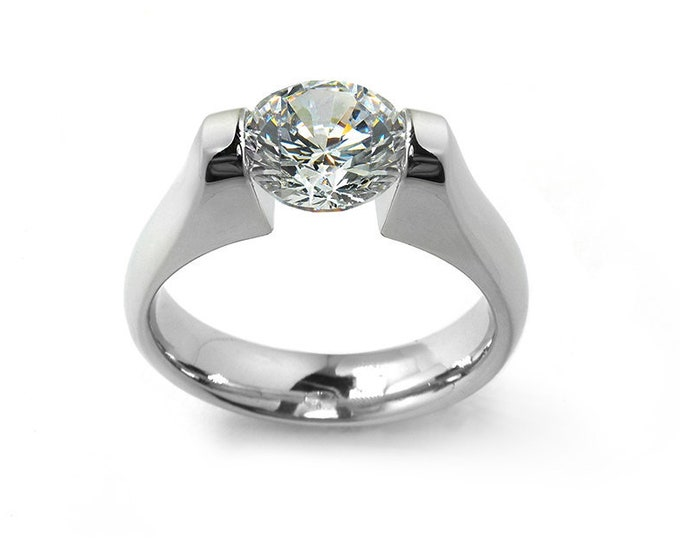 1 ct White Sapphire Engagement Ring Tension Set in Stainless Steel