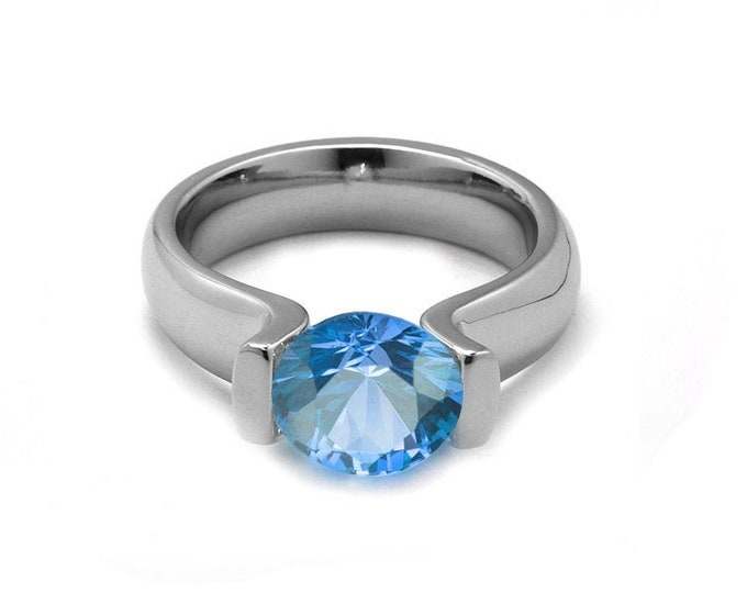 1ct Blue Topaz Lyre shaped Tension Set Ring in Stainless Steel by Taormina Jewelry