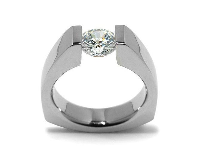 1 ct White Sapphire Triangular Tension Set Ring in Stainless Steel Modern Style