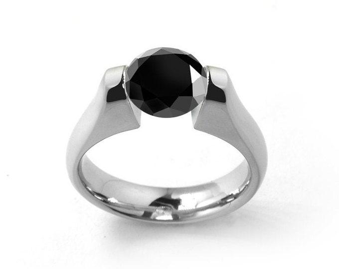 1ct Black Onyx Tension Set Modern Ring Stainless Steel