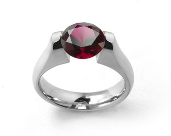 1ct Garnet Ring Tension Set Mounting in Stainless Steel