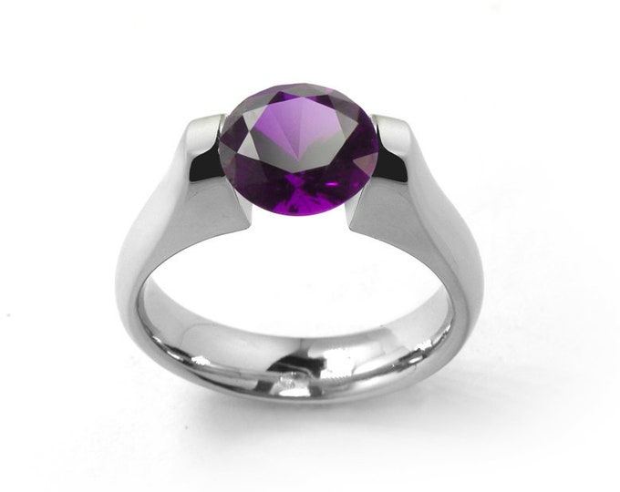 2ct Amethyst Tension Set Steel Engagement Ring