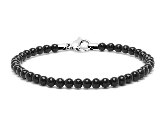 4 mm Black Onyx Bead Bracelet with Stainless Steel clasp by Taormina Jewelry