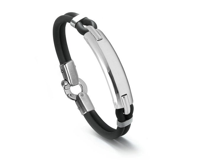 Mens Black Rubber and Stainless Steel ID Bracelet by Taormina Jewelry