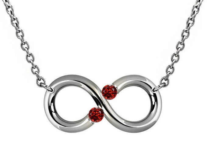 Infinity Necklace with Two Tension Set Garnet in Stainless Steel