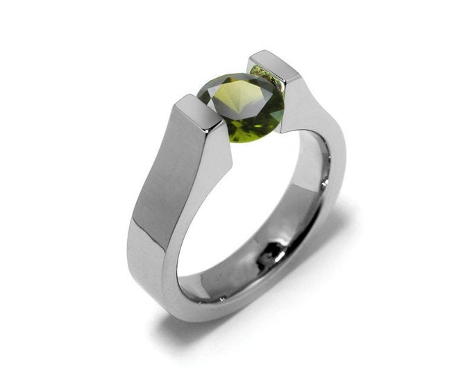 1.5ct Peridot Tension Set Ring Stainless Steel by Taormina Jewelry