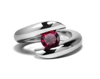 1ct Garnet Ring Bypass Tension Set Mounting in Stainless Steel