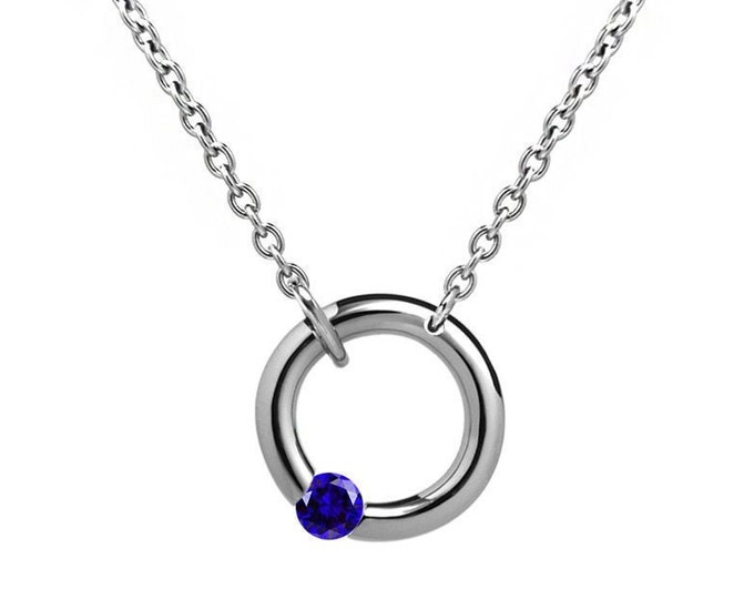 Blue Sapphire Tension Set Necklace in Stainless Steel by Taormina Jewelry
