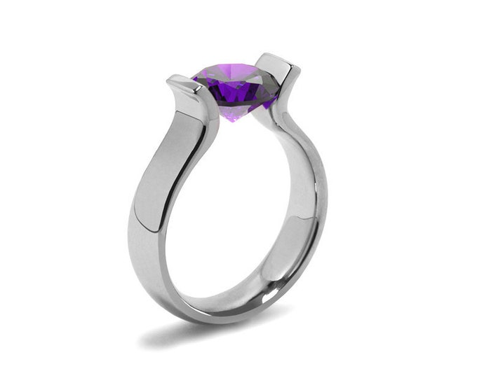 1.5ct Amethyst Lyre shaped Tension Set Ring in Stainless Steel