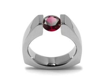 1ct Garnet Triangular Shaped Tension Set Ring