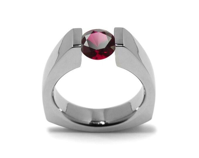 1ct Garnet Triangular Shaped Tension Set Ring by Taormina Jewelry