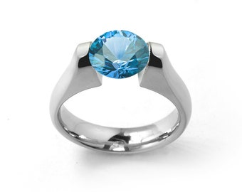 1ct Blue Topaz Ring Tension Set Mounting in Stainless Steel by Taormina Jewelry