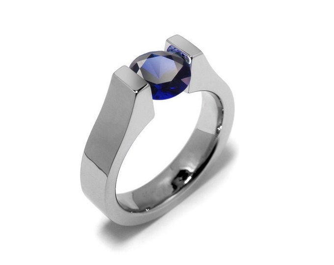 1.5ct Blue Sapphire Ring Tension Set Mounting in Stainless Steel by Taormina Jewelry