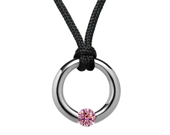 Pink Sapphire Tension Set Pendant in Stainless Steel by Taormina Jewelry