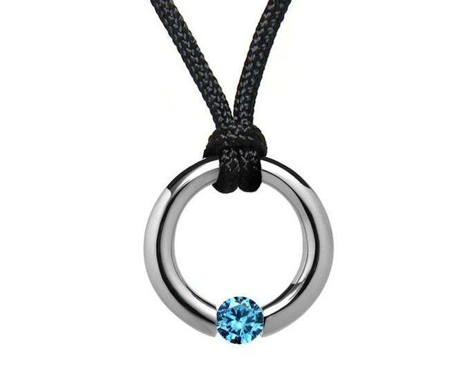Blue Topaz Tension Set Pendant in Stainless Steel by Taormina Jewelry