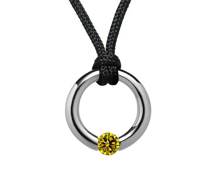 Yellow Sapphire Tension Set Pendant in Stainless Steel by Taormina Jewelry