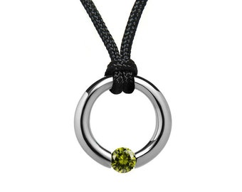 Peridot Tension Set Pendant in Stainless Steel by Taormina Jewelry