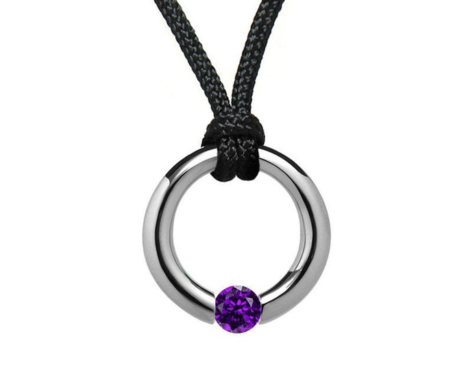 Amethyst Tension Set Pendant in Stainless Steel by Taormina Jewelry