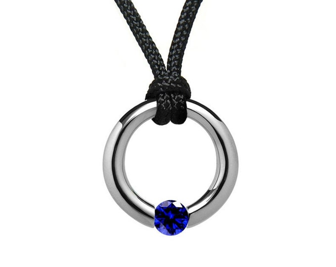 Blue Sapphire Tension Set Pendant in Stainless Steel by Taormina Jewelry
