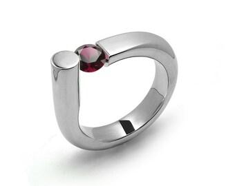 0.75 Garnet Ring Tension Set in Stainless Steel by Taormina Jewelry