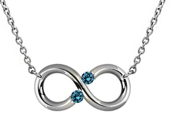 Tension set Blue Topaz Horizontal Infinity Necklace in Stainless Steel
