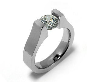 1ct White Sapphire High setting Tension Set Engagement Ring by Taormina Jewelry
