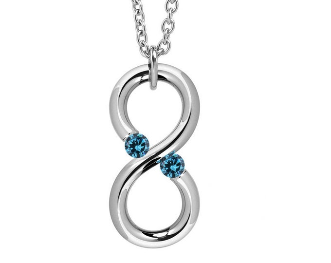 Blue Topaz Modern Infinity Vertical Pendant Tension Set Steel Stainless by Taormina Jewelry